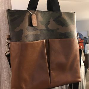 Coach Charles Foldover Green Camo Leather/Canvas